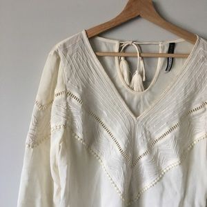 NWOT PLENTY BY TRACY REESE BOHO BLOUSE TOP CREAM S